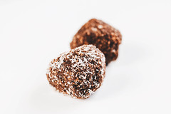 Homemade cocoa and coconut balls (wuestenigel) Tags: cake dessert bite copy cacao space background ground diet truffles candy homemade cooked cocoa baked raw flat chocolate coconut ball energy healthy top vegan lemon sweet balls view ingredient free dark nut round snack delicious food powder rustic almond