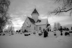 Norwegian church (steffos1986) Tags: nature church landscape winter snow ice cold frozen frost graveyard norway norwegen noruega light sun sundown sunset blackwhite blackandwhite wood monochrom