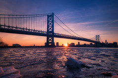 Sunset on the Delaware (mhoffman1) Tags: benfranklinbridge camden cooperspoyntpark drpa delwareriver laowa12mm philadelphia philly sonyalpha a7riii bridge camdencountynj frozen ice river sunset waterfront winter newjersey unitedstates us