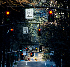 Witch way to go? (Omygodtom) Tags: street road light lines red orange town city tree nikkor nikon70300mmvrlens nikon dof d7100 digital contrast
