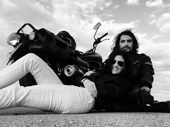 Break In The Middle Of The Road (F051) Tags: biker motorcycle motorcycles bike nikon 50mm 18 nikkor d100 blackandwhite bnw blancoynegro highcontrast altocontraste joerocket casco helmet 34 half bikers woman girl leather jacket top gun