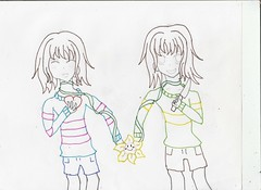 Chara and frisk lineart (Amane-chan) Tags: chara frisk fanart sketch 2016 undertale flowey flower