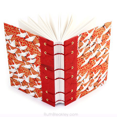 Red Crane Japanese Paper Journal with Unlined Pages handmade by Ruth Bleakley - 2 (MissRuth) Tags: chiyogami handmadejournal unlinedjournal ruthbleakley bookart handmadebook handbound chiyogamijournal cranesjournal redjournal blankbook bookartist bookbinding