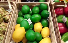 Fake Fruit (Tony Worrall) Tags: fake fruit plastic made real lemon lime buy sell bought basket crate many collection colours color box boxoffruit hues green yellow group items notreal