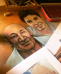 Wip. Time to details. (• v • a • n • e •) Tags: portrait portraits commission grandson grandfather craftpaper pastelbar pastelpencil pastel whileinprogress wip