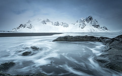 Slow wave (Mika Laitinen) Tags: canon5dmarkiv europe iceland leefilters stokksnes vestrahorn beach blacksand cloud cold landscape longexposure mountain nature outdoors rock sea shore sky water wave easternregion is