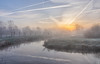 Foggy Morning (Martine Lambrechts) Tags: foggy morning nature landscape sunrise mist waterway tree frost water sky