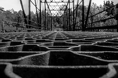 Closed metal bridge (kris.notaro) Tags: blackandwhite black white monochrome vermont bridge metal rusty old closed