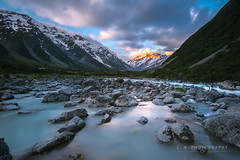 Aoraki/Mount Cook National Park - New Zealand (www.caseyhphoto.com) Tags: newzealand aoraki mountcook nationalpark aotearoa south pacific island travel traveling traveler traveller travels traveled adventure adventurer adventuring nature natural wilderness rural nikon nikkor 1635f40 sky cielo nubes clouds landscape tourism tourist holiday vacation wanderlust wandering explore explorer nd ndfilter neutral density filter long exposure slow shutter speed river rio hooker valley track moon sunset rocks