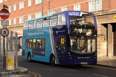 AMN 4538 @ Leicester Haymarket bus station (ianjpoole) Tags: arriva midlands alexander dennis enviro 400mmc yy67hdd 4538 working sapphire route 31 leicester haymarket bus station hamble road oadby
