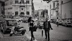 stile Romano (Dirty Thumper) Tags: roma lazio it italy sangiovanniinlaterano nikon d5200 dslr 35mm wide prime nikkor street monochrome bw travel city people rome fashion couple umbrella lifestyle woman man