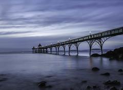 as the light fades... (Jess Feldon) Tags: le pier clevedon longexposure somerset jessfeldon sky coast sea seaside beach estuary severnestuary rocks wideangle