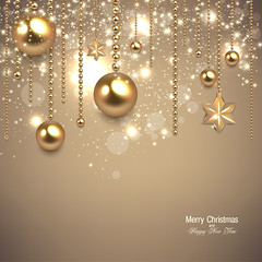 Elegant christmas background with golden baubles and stars. Vector illustration (siancom) Tags: backdrop background ball baubles beige bow bright card garland celebration champagne christmas cream invitation decoration decorative element festive glossy glow glitter golden greeting happy holiday illustration light merry new ornament place shimmering shine snow snowflake snowfall star sparkly text vector white winter xmas year gift abstract event eve elegant template