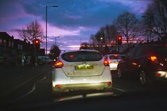 (ニノ Nino) Tags: 35mm 35 mm film analog analogue street urban utdoor photography olympus mju ii kodak ultramax 400 pink sky sunset dawn dusk sunrise london traffic londoner londres