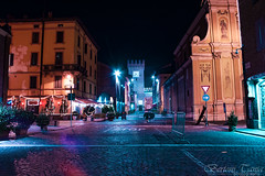 lights will guide you home (frogghyyy) Tags: night nightscape architecture borgo borough luci cityscape lights longexposure blue purple città city buildings street strada notte