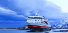 Ms Finnmarken - Departure from Brønnøysund (G E Nilsen) Tags: hurtigruten norwegiancoast finnmarken sea winter snow ship mountains msfinnmarken port harbour boat sky vessel water
