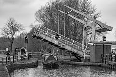 Lift Bridge (Mister Oy) Tags: leigh bridge lift leedsliverpoolcanal mono monochrome blackandwhite nikond850 nikon85mmf14gafs barge narrowboat
