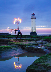 Fire Dancer at Perch Rock Lighthouse (priceycles) Tags: perchrocklighthouse newbrighton fire dancer sunset twilight lighthouse