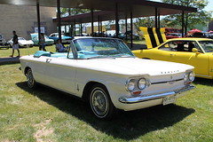 As If On A Cloud (Flint Foto Factory) Tags: flint michigan genesee county urban city summer june 2016 downtown cultural center sloan museum auto fair 44th annual classic american car automobile kearsleyst kearsley vintage generalmotors gm 1964 chevrolet chevy corvair monza convertible soft drop top white exterior aqua blue vinyl interior flintyouth theater theatre james whiting auditorium front threequarter view chrome class rear engine engined compact worldcars
