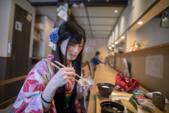 Young woman in kimono having lunch in Japanese restaurant (Apricot Cafe) Tags: img26207 asia asianandindianethnicities healthylifestyle higashichayamachi ishikawaprefecture japan japaneseethnicity japaneseculture kanazawa kimono sigma20mmf14dghsmart architecture artscultureandentertainment charming cheerful chopsticks citylife cultures day eating enjoyment fashion foodanddrink freedom freshness hairaccessory happiness indoors japanasefood lifestyles longhair lunch oldfashioned oneperson onlywomen photography relaxation restaurant sideview sitting smiling springtime straighthair tourism tradition traditionalclothing tranquility travel traveldestinations waistup weekendactivities women youngadult