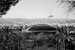 Olympic Stadium at the Montjuïc hill (Picturos404) Tags: europe spain catalunya barcelona olympic stadium montjuïc hill blackwhite black monochrome sky clouds architecture sport