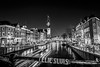 Prinsengracht en Westertoren (johan wieland) Tags: prinsengracht amsterdam avond jordaan nacht westertoren westerkerk noordholland netherlands nl
