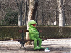 Kermit the Frog on park bench in Madrid