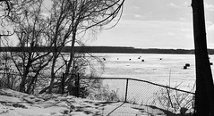 Hardy ice fishermen....HFF! (wessexman...(Mike)) Tags: infocus highquality mono white blackandwhite barrie icefishing fence hff inexpore shadows