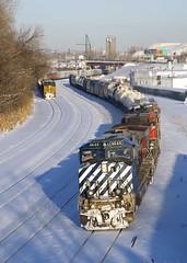 BCOL leading CN 323 (Michael Berry Railfan) Tags: cn canadiannational cn323 cn543 montreal montrealsub montrealwest quebec train freighttrain ge generalelectric csxt3224 es44ac es44ah csx csxt dash9 dash944cw bcrail bcol