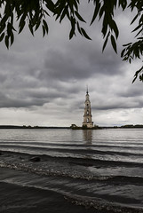 The bell tower of the flooded monastery (Lyutik966) Tags: river volga russia architecture history reservoir sky water island landmark foliage wave shore city frame kalyazin