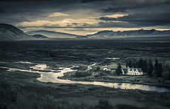 Light plays drama (Sizun Eye) Tags: thingvellirnationalpark thingvellir þingvellirchurch þingvellir church iceland sizuneye drama light cloudscape river oxara öxaráriver mountains landscape beautiful pretty mood atmospere atmospheric nikond750 tamron2470mmf28 reflections dramatic