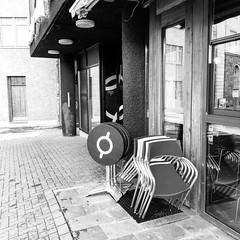 Down town Reykjavik (Pezti) Tags: blackwhite blackandwhite white black bw iceland iphone8 downtown reykjavik window table chairs cafe coffee