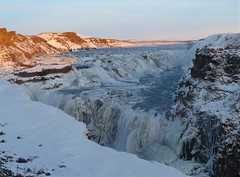 Gullfoss waterfall (tom_2014) Tags: sky landscape snow ice icy gullfoss waterfall iceland scandinavia nordic arctic river water chasm gorge famous landmark travel tourism geography winter goldencircle frozen mighty view