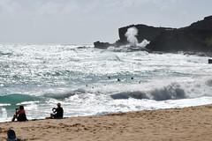 View of Blowhole from Sandy Beach (trailwalker52) Tags: hawaii oahu sandybeach ocean shorebreak roughocean roughwaves bigwaves bigwave crashing blowhole hawaiiblowhole