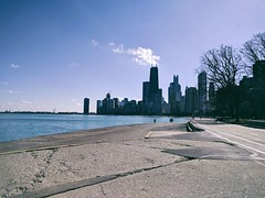 Sunday (ancientlives) Tags: chicago illinois il usa lakemichigan lakefronttrail lakeshore lake northavenuebeach skyline skyscrapers cityscape towers city streetphotography walking bluesky sunshine sunday february 2018 winter