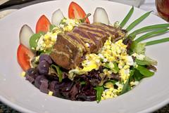 Seared Ahi Salad (Pat Durkin OC) Tags: food lunch seafood ahi tuna blackolives eggs bakedpotato tomato