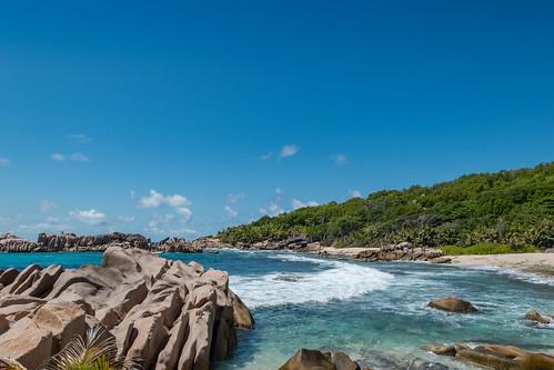 Strand Grand L' Anse Insel La Digue, Seychellen