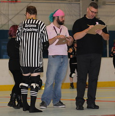 IMG_8788 crop 2 (KORfan) Tags: rollerderby barbedwirebetties cabinfeverscrimmage referees officials nso nonskatingofficial