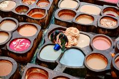 Chouara Tannery 2 (radimersky) Tags: morocco maroko afryka africa fez fes chouara tannery garbarnia rainy deszczowy dzień day work praca rzemiosło craft people ludzie hard ciężka medina oldtown city town miasto micro skóry fourthirds 43 panasonic lumix lx100 chaouwara tanneries جنان لمراني microandfourthirds leather