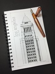 Los Angeles City Hall topper (schunky_monkey) Tags: fountainpen inkdrawing penandink ink pen illustration drawing draw sketching sketch art icon building architecture skyscraper artdeco cityhall california losangeles