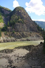 Fraser River Canyon from the Rocky Mountaineer, British Columbia, Canada (Black Diamond Images) Tags: rockymountaineer rockymountaineerroute fraserriver fraserrivervalley fraserrivercanyon fraserrivergorge canadianrockies vancouvertokamloops canadiantourism armstronggroupltd goldleaf goldleafdomecoach train railroad railway travelphotography landscapes britishcolumbia canada