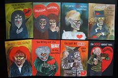 Monster Valentines ( Hallmark Probably 1960's ) (Donald Deveau) Tags: monsters valentines monstervalentines werewolf vampire ghouls hallmark cards drawing illustration
