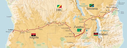 Rovos Trail of two Oceans Angola Tanzania Map