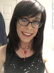 February 2018 - black sequin dress (Girly Emily) Tags: crossdresser cd tv tvchix trans transvestite transsexual tgirl tgirls convincing feminine girly cute pretty sexy transgender boytogirl mtf maletofemale xdresser gurl glasses dress indoor closeup