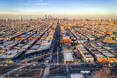 Up Broad (Darren LoPrinzi) Tags: aerial dji drone phanotom4pro phantom4proplus philly philadelphia cityscape goldenhour streets urban southphilly skyscrapers cars traffic lines roads avenues centercity benfranklinbridge bridge neighborhood