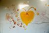 Open Heart Surgery (pelicanflick) Tags: graffiti heart handprint handson fingerpaint yellow abandoned
