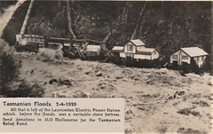 Floods in Tasmania - 7 April 1929 (Aussie~mobs) Tags: abc radio melbourne 3lo postcard fundraiser 1929 tasmania floods launceston powerstation devastation vintage australia