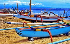Bali, Jukung Outrigger Canoe (gerard eder) Tags: world travel reise viajes asia southeastasia indonesia bali sanur sanurbeach beach strand playa boats boote barcas blue wasser water outdoor natur nature naturaleza landscape landschaft paisajes panorama