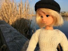 How are you so far... (dolldudemeow24) Tags: sindy doll dolls blonde beanie short hair fixed custom maggie fashion barbie sun sunlight outside water grass trees dutch holland netherlands 2018