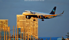 Azul Brazilian Airlines Golden Hour (Infinity & Beyond Photography) Tags: azul brasil brazilian airlines airbus a320 aircraft airliner airplane goldenhour sunset ft fort lauderdale airport florida tower block buildings evening sunlight condominiums fll kfll a320neo